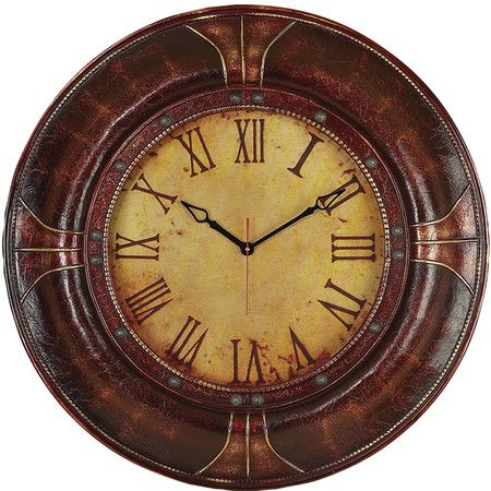 Wall Clock With A Faux Leather Frame And Weathered Roman