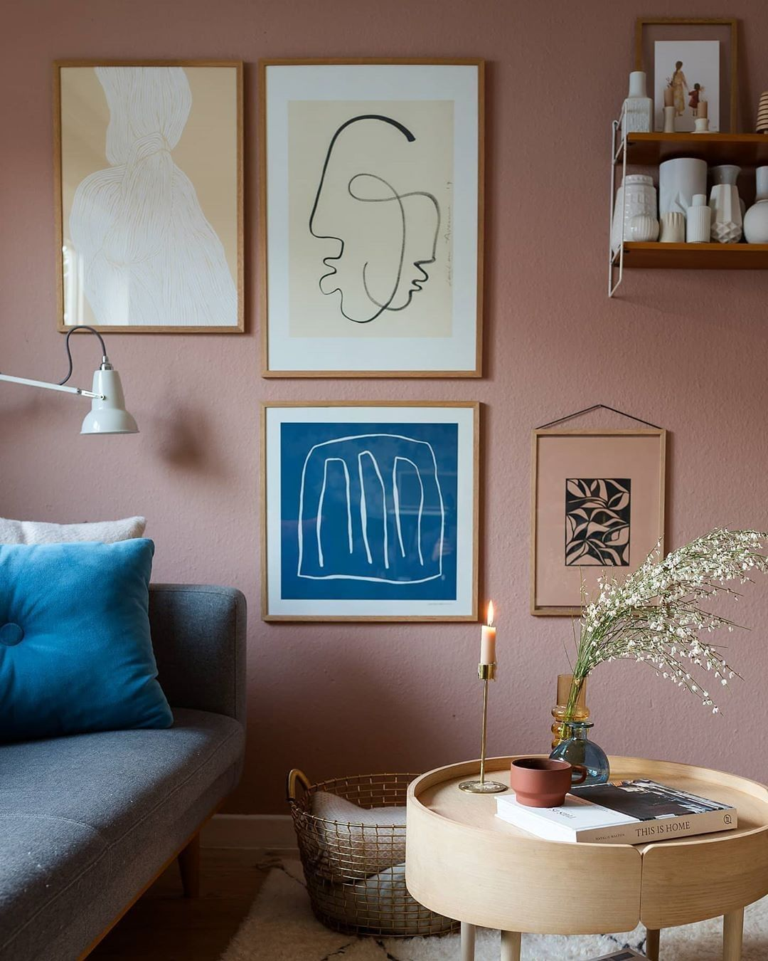 A curated art wall of pretty prints, in the wonderful home of @wunderblumen. All prints available online.⁠.⁠#art #artprint #artposter #tpc #theposterclub #interiordesign #nordicdecor #homestyling #artwall #picturewall #colourfulhome #homedecor