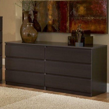 Bedroom Furniture Espresso modern danish 6-drawer long dresser brown espresso chocolate