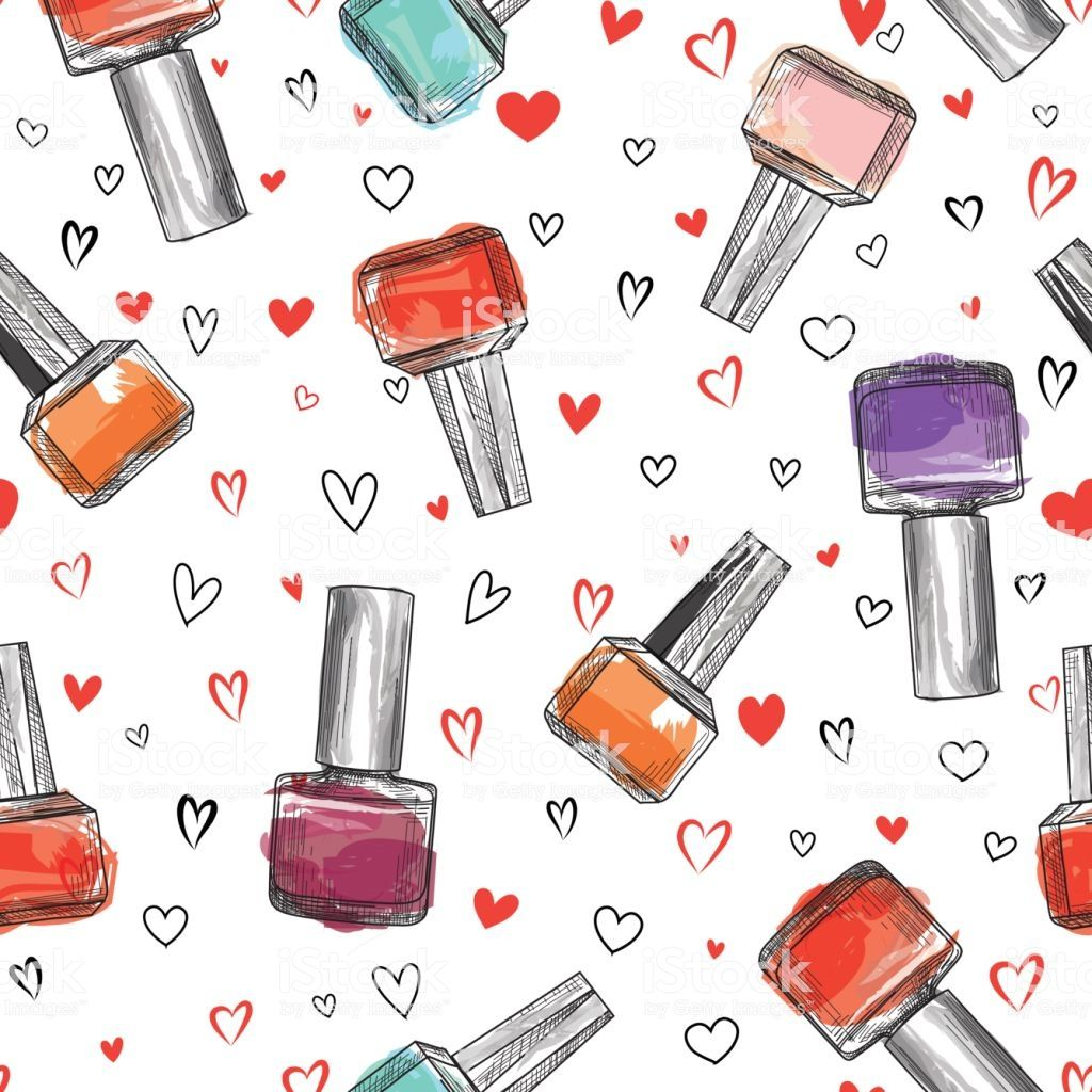 Nail polish bottle seamless pattern. Beauty salon