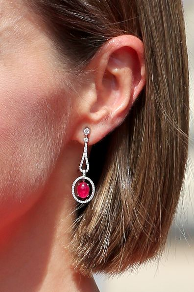 Queen Letizia of Spain earing detail visits the french national assembly on June 3 2015 in Paris France