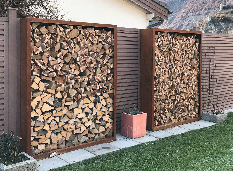 Holzlager Aufbewahrung Garten Holzwand Garten Holzlager