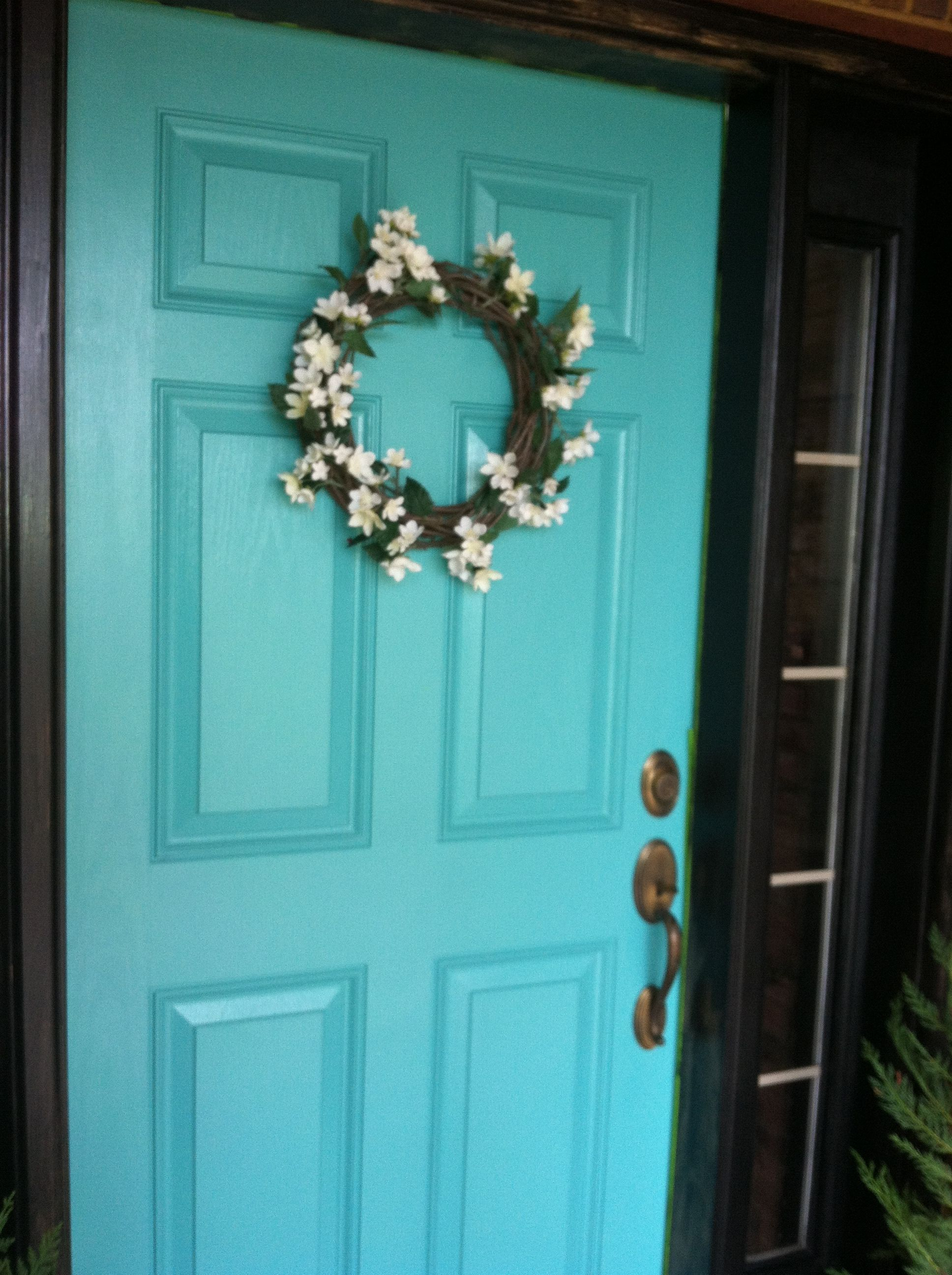 Behr Quot Teal Zeal Quot On The Front Door With Black Sidelights