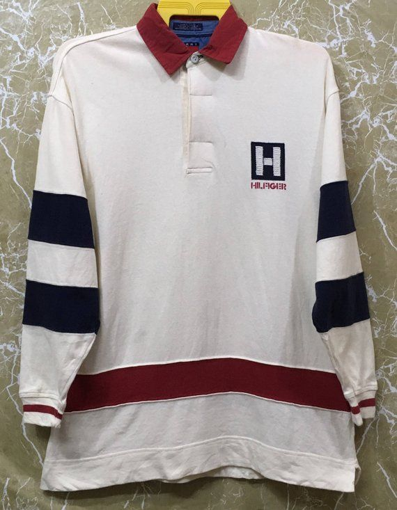 09fd059c8ec Vintage 90s Tommy Hilfiger rugby shirt Spell Out Big Logo shirt long sleeve  M size