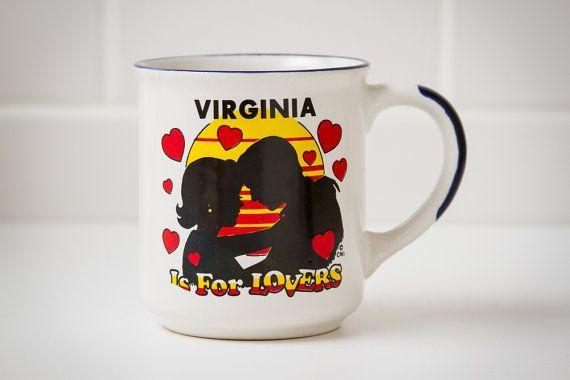 Vintage Original Coffee Mug (c.1970's) - VIRGINIA Is For Lovers Seventies Retro Prop Decor, Americana #mugdisplay