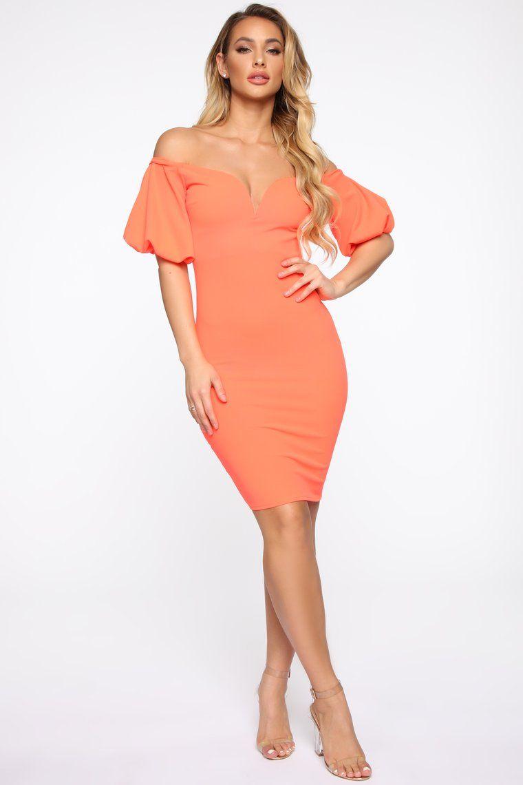Pop Bubble Sleeve Dress Neon Orange in 2020 Dresses
