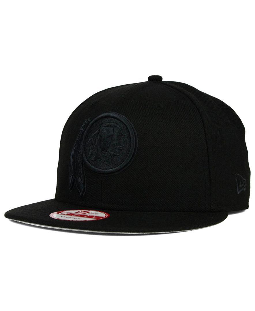 6b7623547e3 New Era Washington Redskins Black on Black 9FIFTY Snapback Cap ...