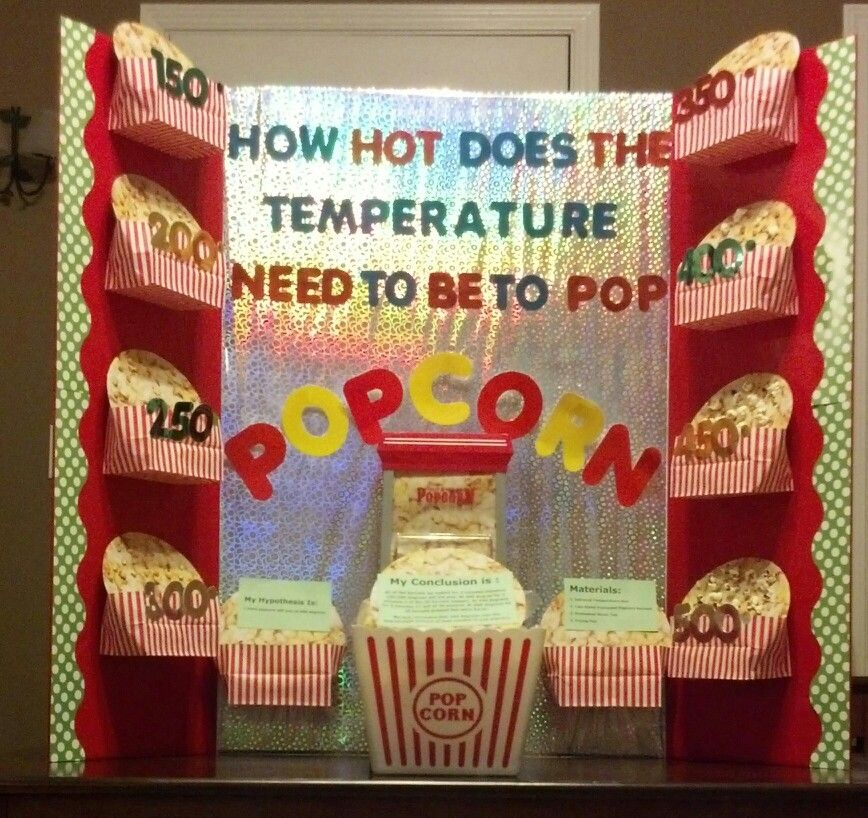 popcorn science fair projects Get ideas for 5th-grade science fair projects store popcorn in the freezer, refrigerator, at room temperature, and in a heated location.