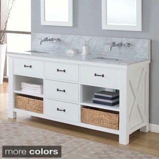 Perfect Direct Vanity 70 Inch Xtraordinary Spa Pearl White Double Vanity Sink  Cabinet
