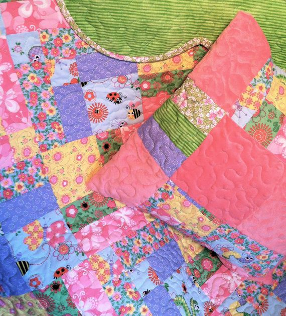 Patchwork Baby Quilt with Pillow Case in Pink, Blue and Yellow
