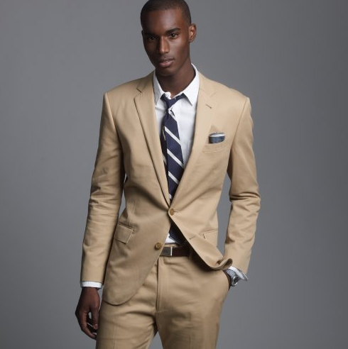 Blue tie, tan suit, love the colour combo!   For Your Man ...