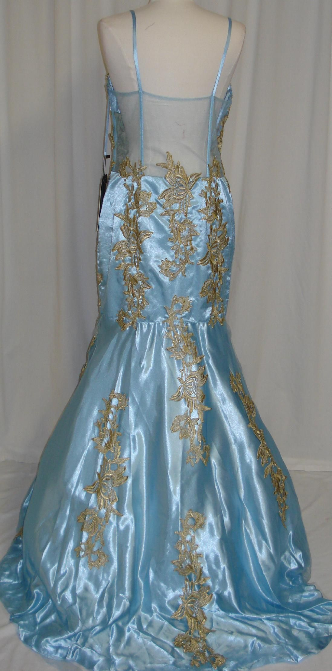 Gold blue wedding dress gown prom cocktail dress homecoming