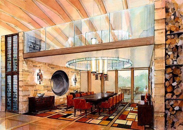 Architectural Perspective - Watercolour illustration