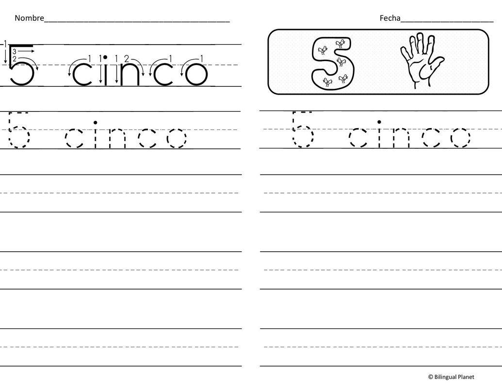 Bilingual Number Worksheet For Preschoolers