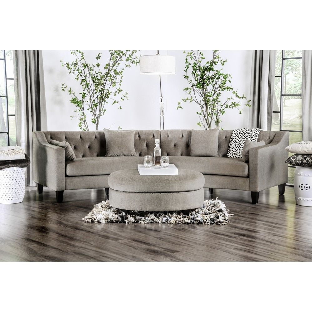 Aretha Contemporary Grey Tufted Rounded Sectional Sofa By