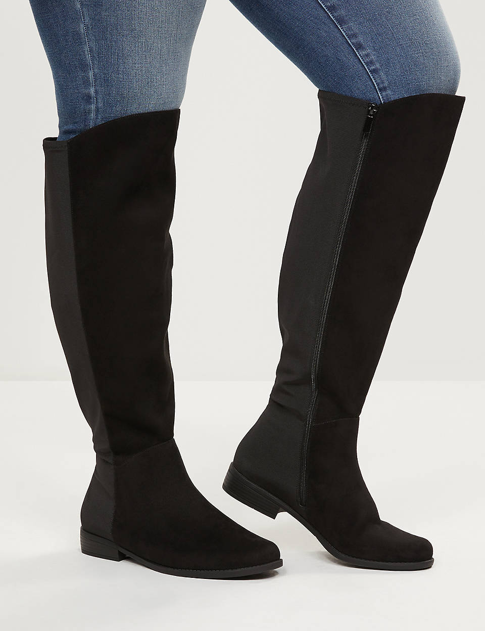 Wide calf boots, Suede flat boots