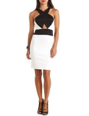 crossover color block bodycon dress