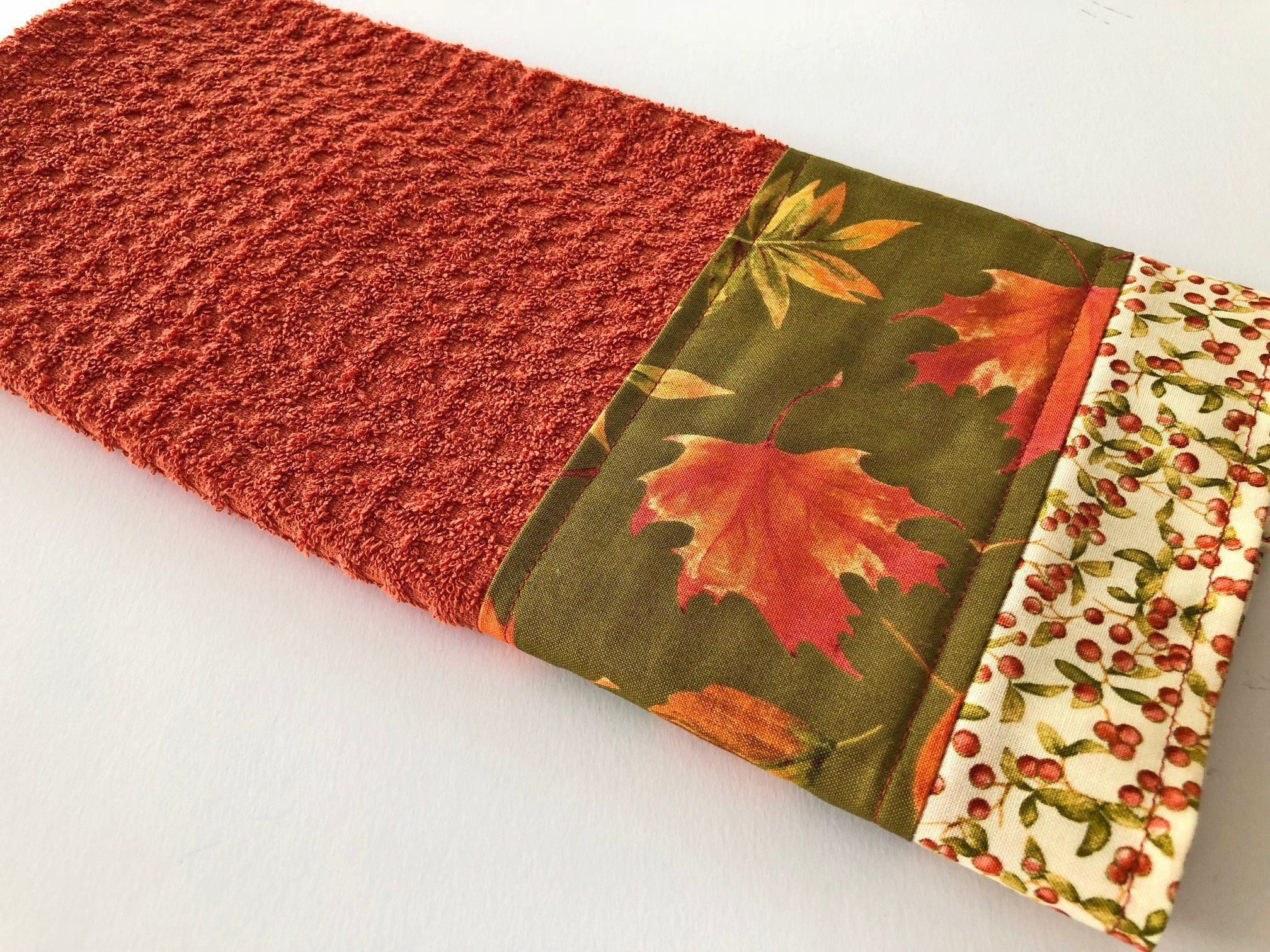 Autumn Fall Leaves Kitchen Dish Towel, Fabric Trimmed Hand ...