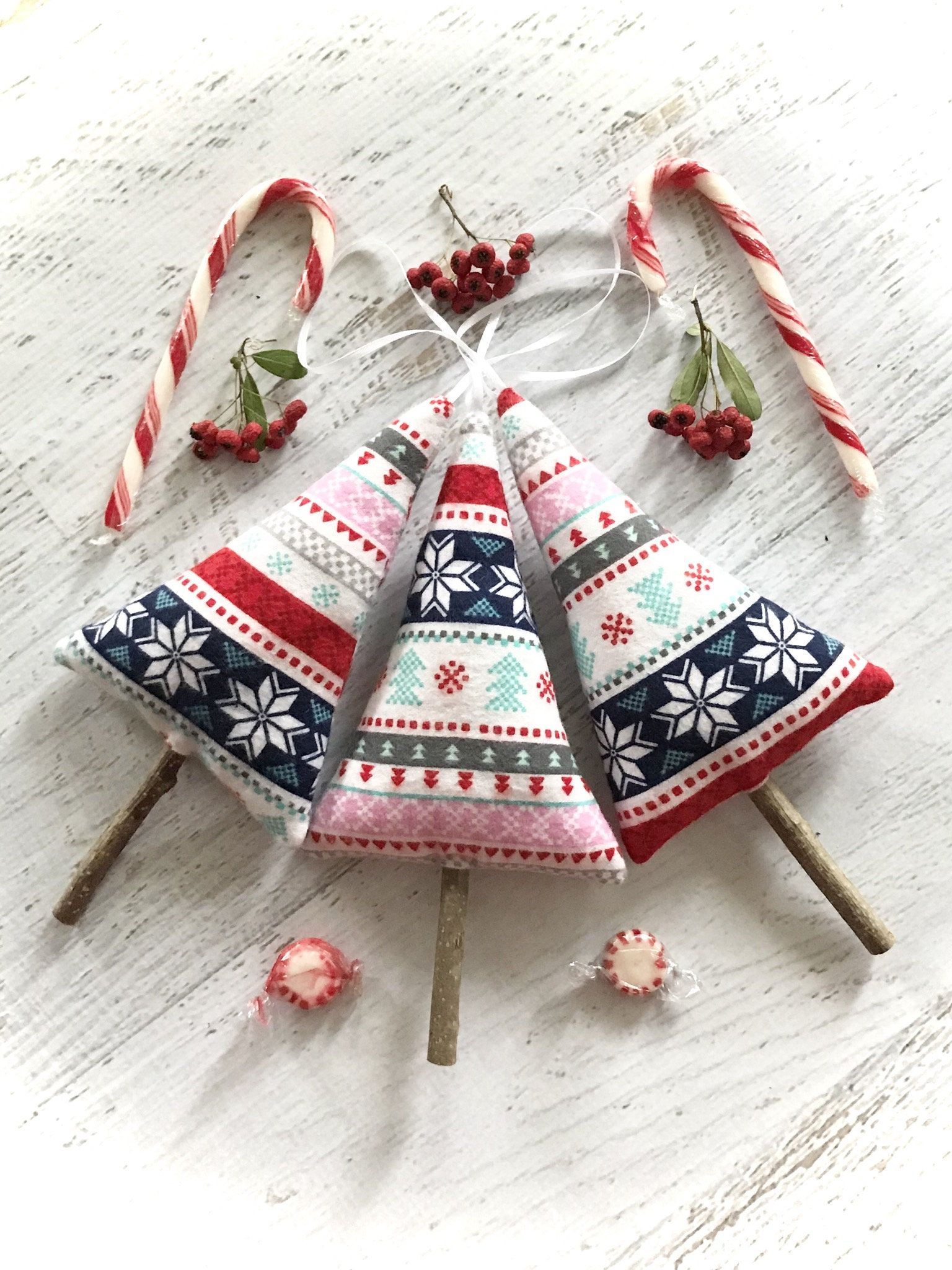 Christmas Tree Ornaments Three Plush Stuffed Fabric