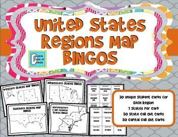 United States Regions Map BINGOS | A Double Dose of Dowda ...