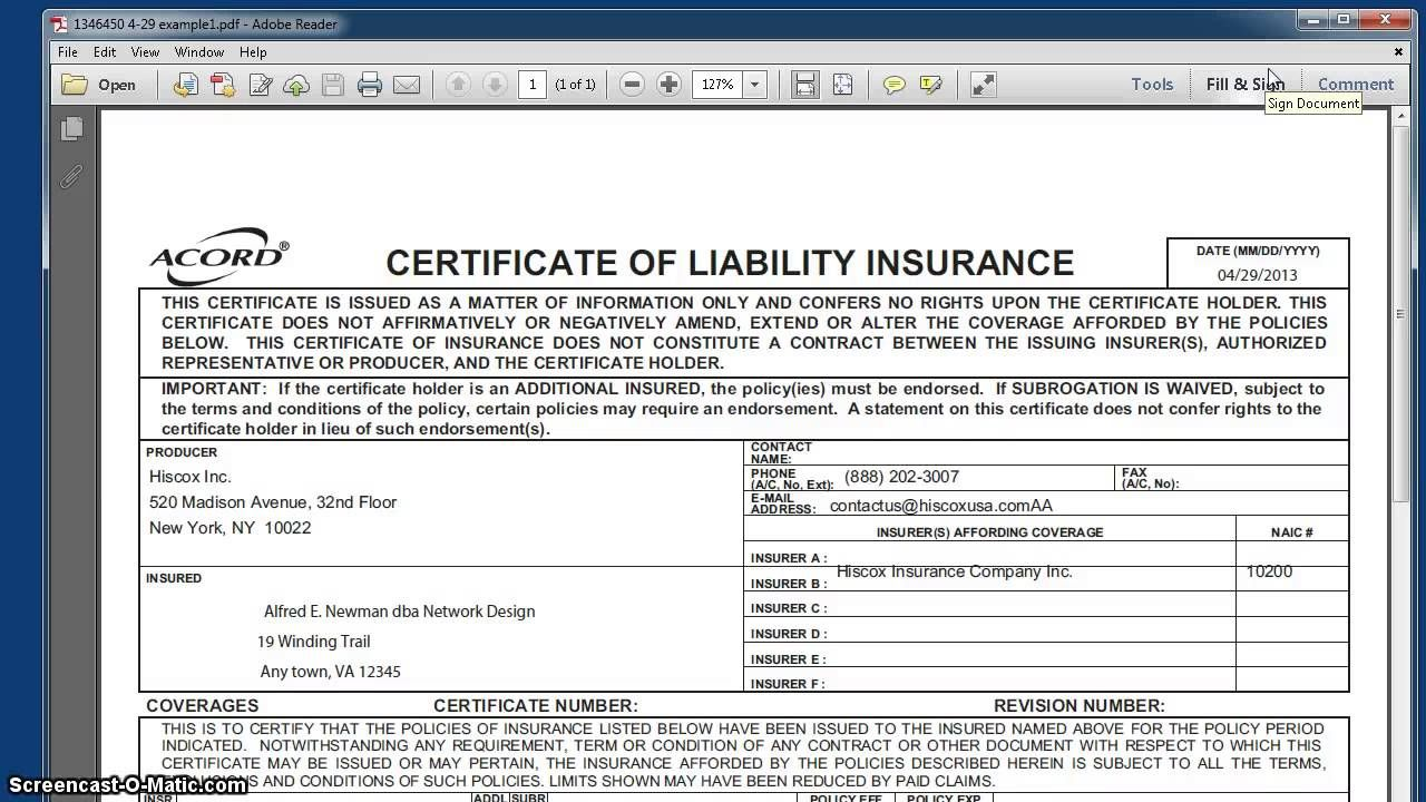 What Is General Liability Insurance Throughout Certificate Of
