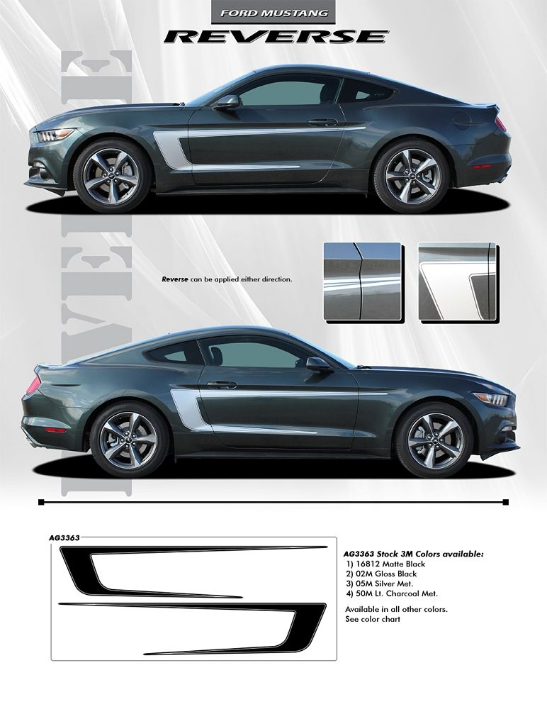 2015 2016 2017 Ford Mustang Reverse C Stripe Boss Style Side Stripes Vinyl Decal Graphics Ford Mustang Mustang 2017 Ford Mustang