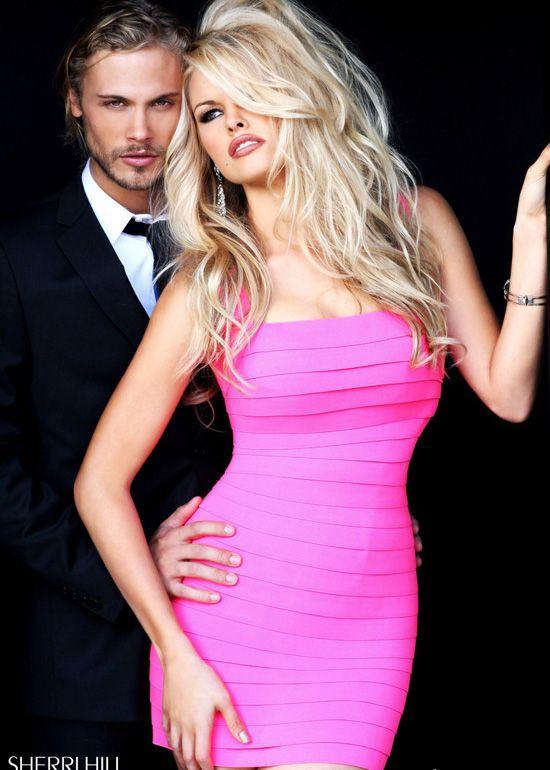 Sherri Hill 2220 Neon Pink Cocktail Dress   vica   Pinterest