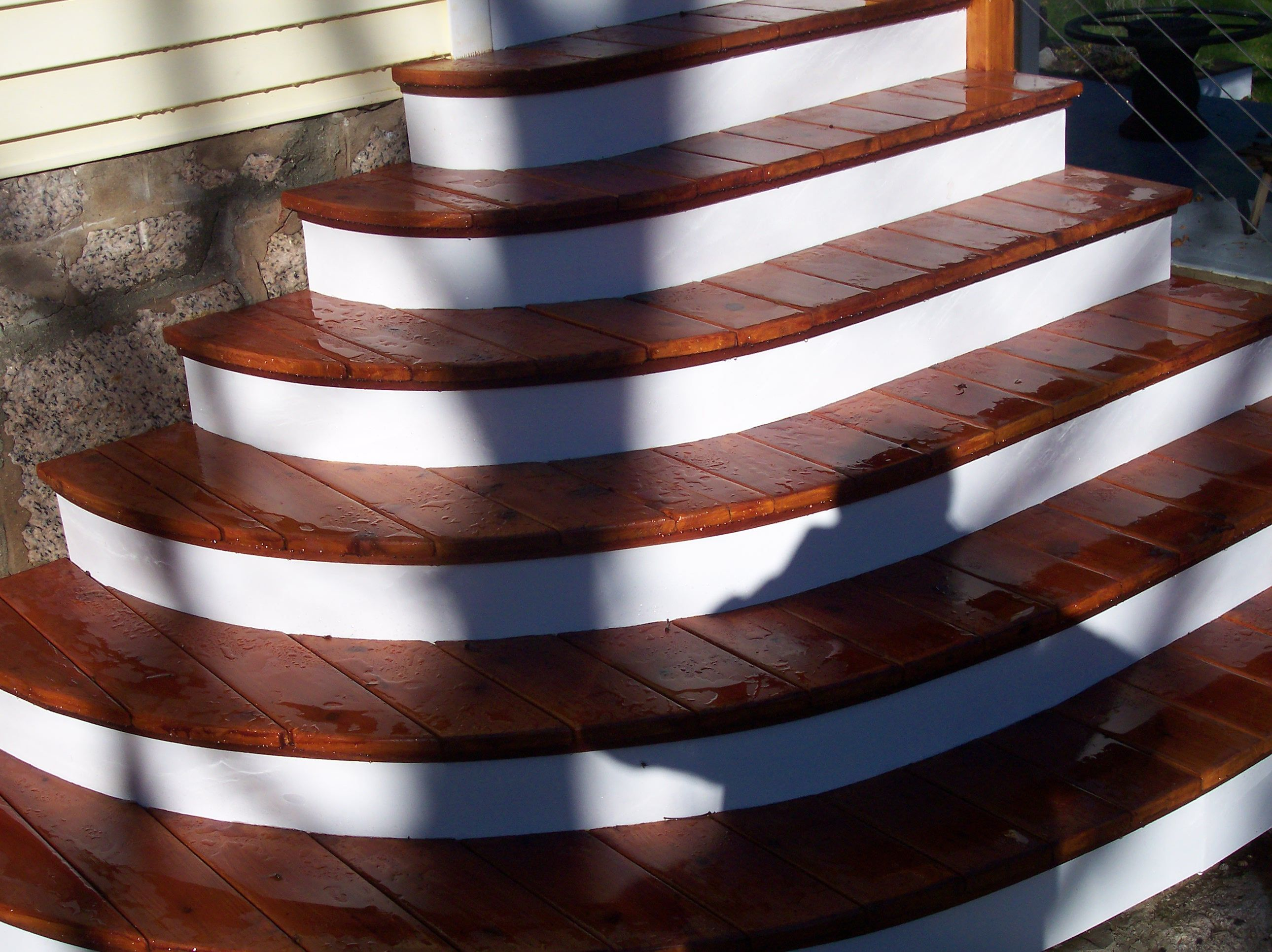 Etonnant Rounded Deck Stairs With Cedar Treads By: Nathan Dishington