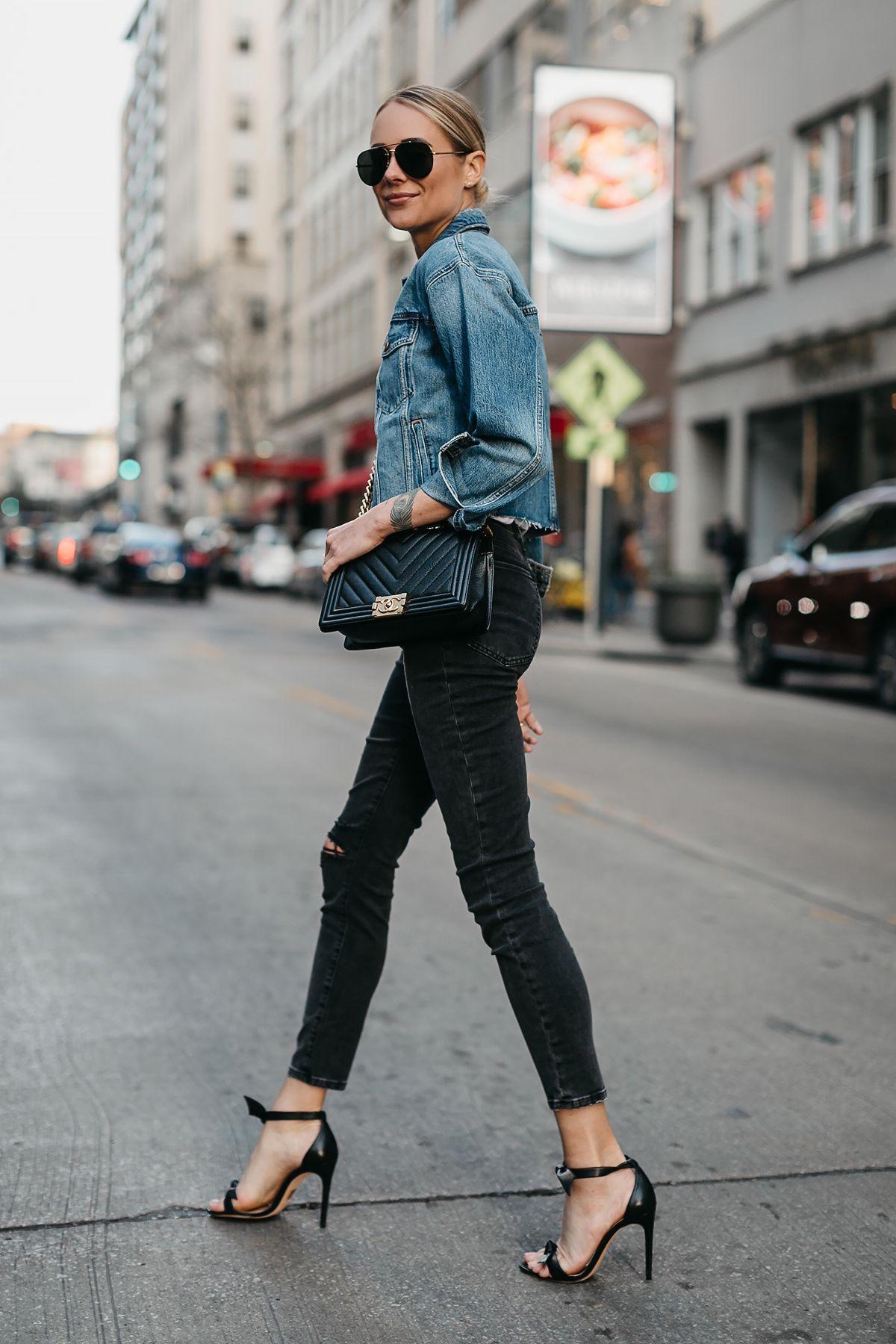 fc9a2792c Blonde Woman Wearing Joes Jeans Black Ripped Skinny Jeans Denim Jacket  Chanel Black Boy Bag Alexandre Birman Black Bow Heels Fashion Jackson  Dallas Blogger ...