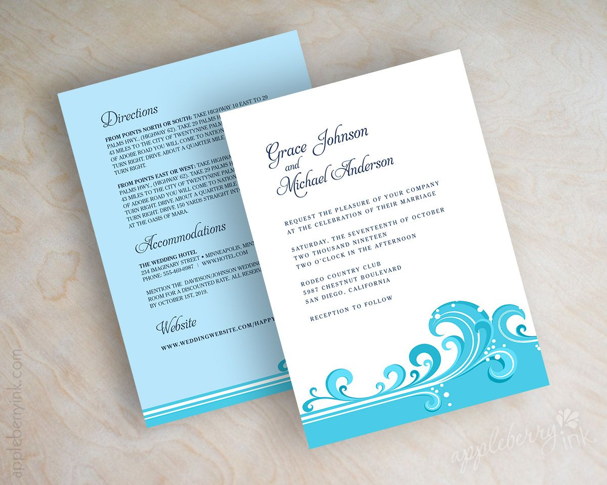 Cyan Blue Wave Beach Destination Wedding Invitations Wedding