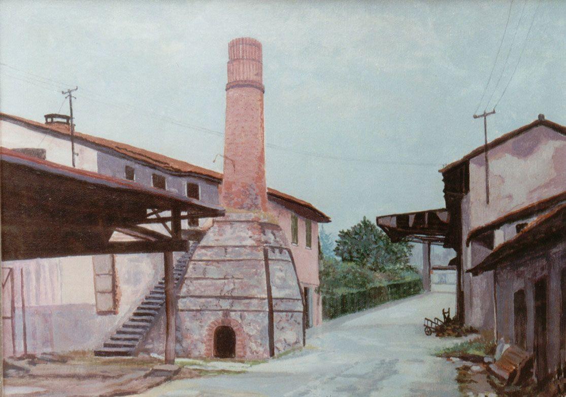 E. Besozzi pittore s.d. (1978) Fabbrica acrilico su tela cm. 40x50 arc. 910