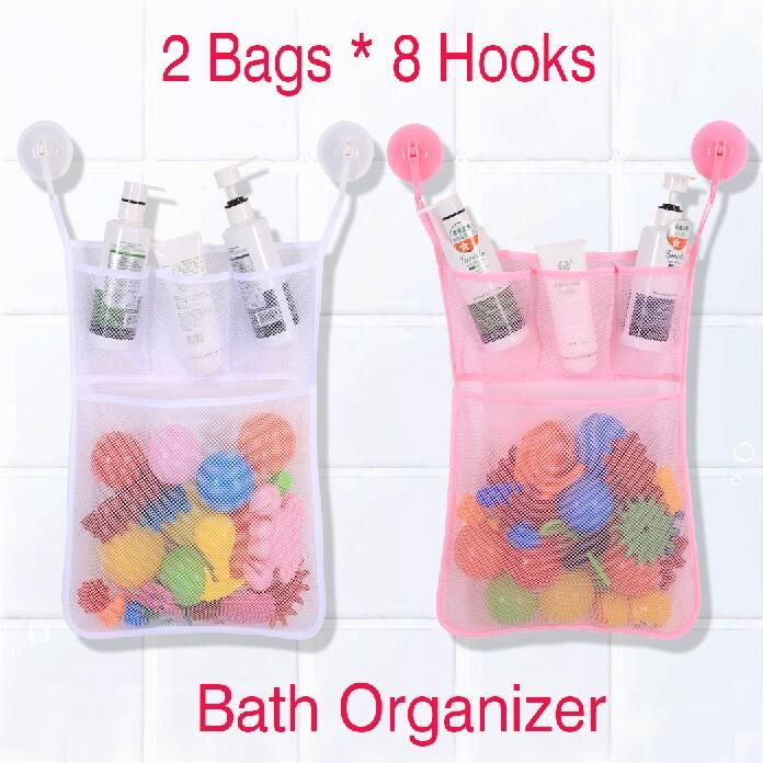 Bath Toy Organizer Mesh Bag Tub + Ultra Strong Hooks ,Net For ...