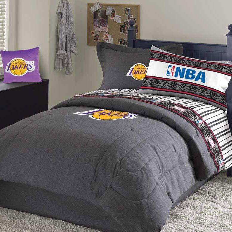 Los Angeles Lakers Team Denim Standard Pillowsham Lakers Bedroom Ideas Basketball Bedroom Basketball Room