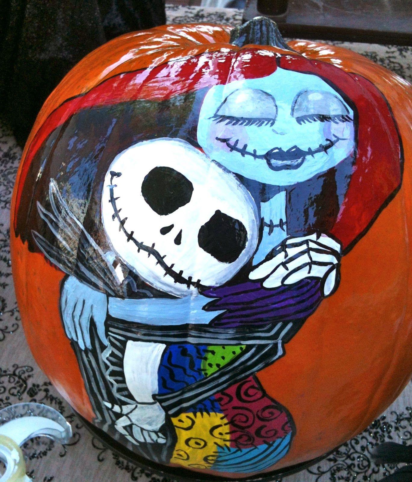 halloween sally and jack skellington pumpkin painting picture - Halloween Pumpkins Painted