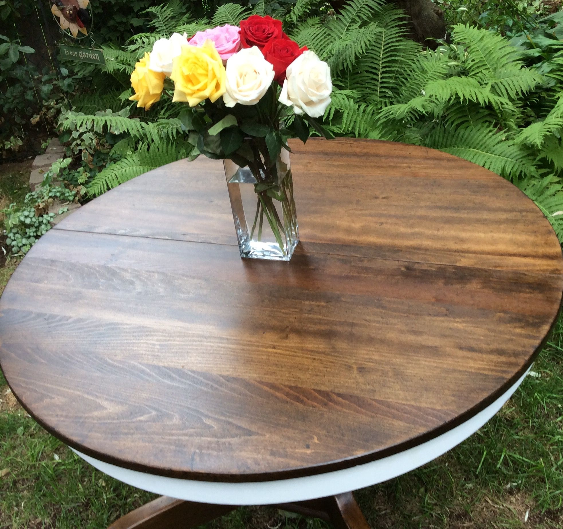 Antique oak pedestal table refinished in Annie Sloan pure white