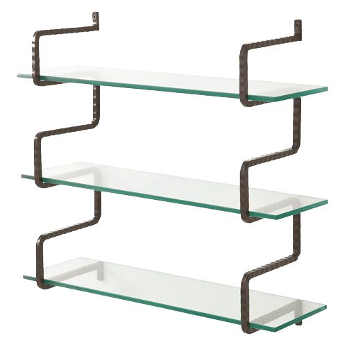 love this glass shelving supported by black iron brackets for bar ...