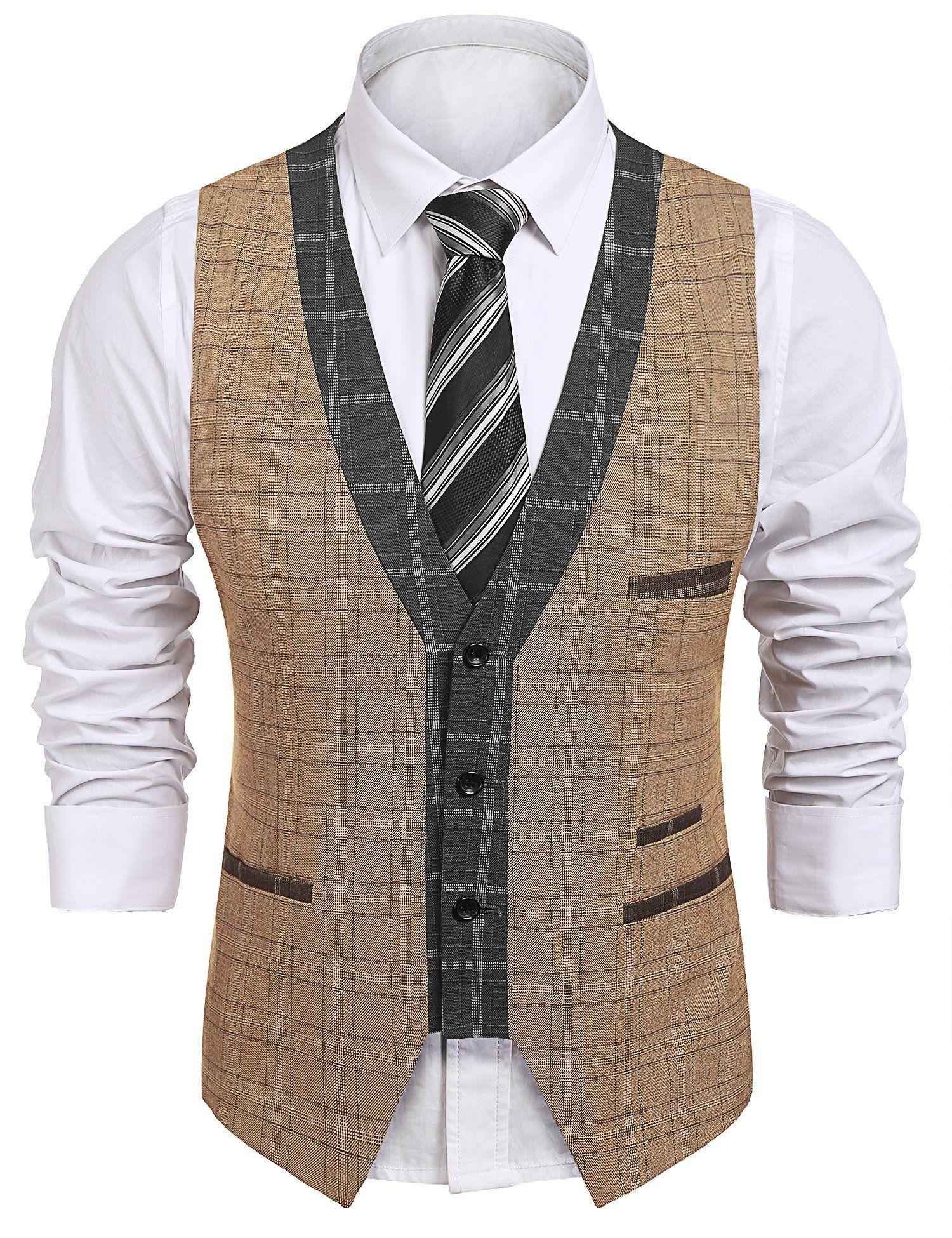 50ad14105f519b Coofandy Men s V-Neck Slim Fit Dress Suit Sleeveless Plaid Vest Waistcoat