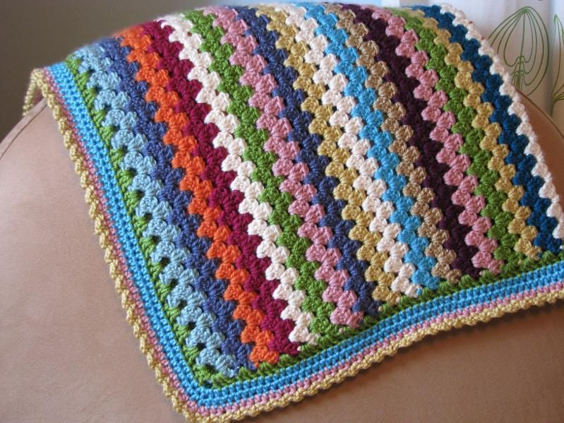 Free Crochet Granny Stripe Baby Blanket Pattern. Great idea to use ...