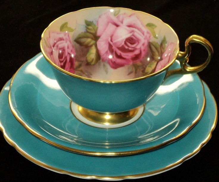 Aynsley Bone China Teacup Saucer and Plate set in turquoise with gold rim and handle & Aynsley Bone China Teacup Saucer and Plate set in turquoise with ...
