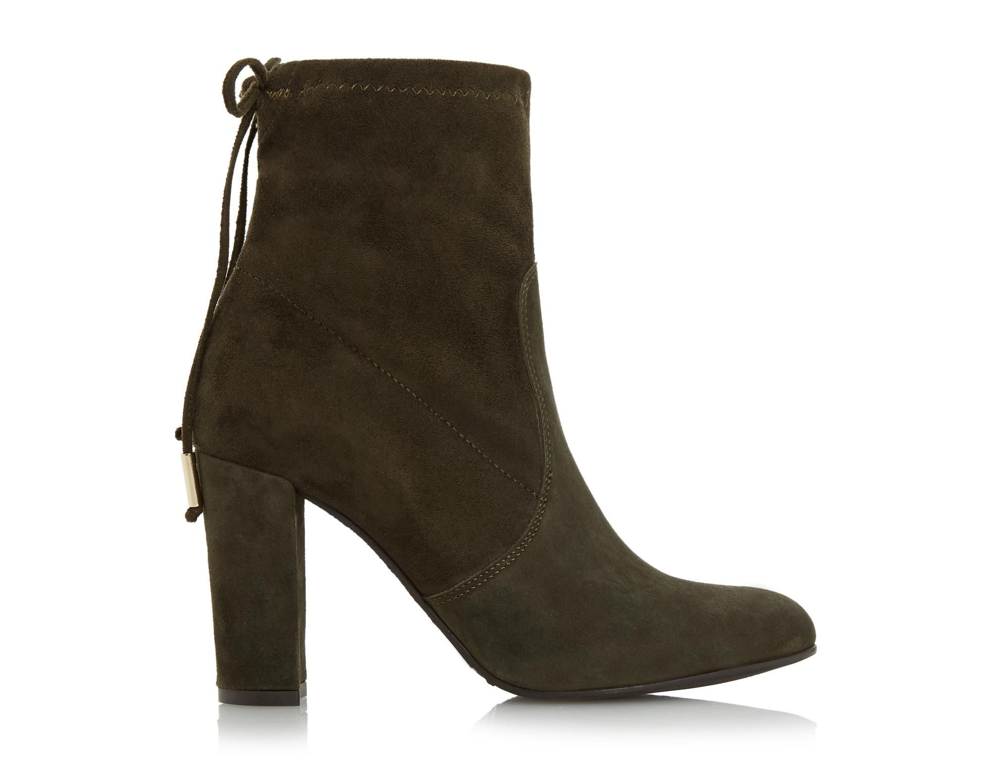 This chic ankle boot will add an instant glam to you day and night look. Featuring a high block heel and tie up detail with Dune branded metal tips. Style with an oversized jumper and midi skirt for a trendy finish.