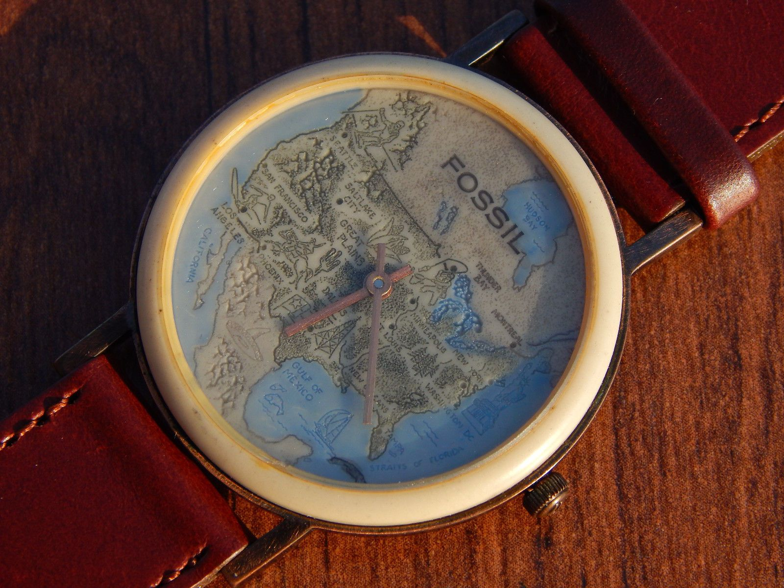 Ultra rare mens fossil stone rock globe map watch bw 6729 usa ultra rare mens fossil stone rock globe map watch bw 6729 usa mexico canada ebay gumiabroncs Image collections