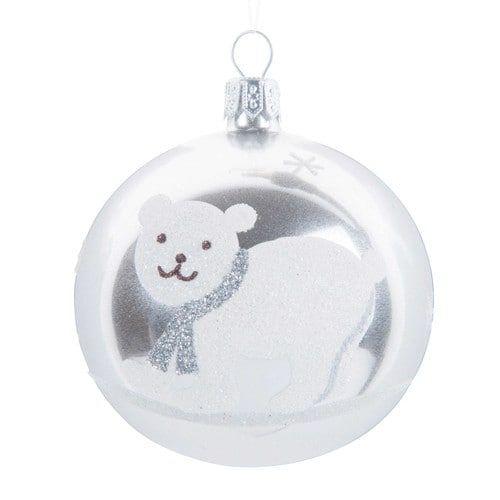 Boule de Noël en verre D 7 cm OURS POLAIRE   Boules de noël en