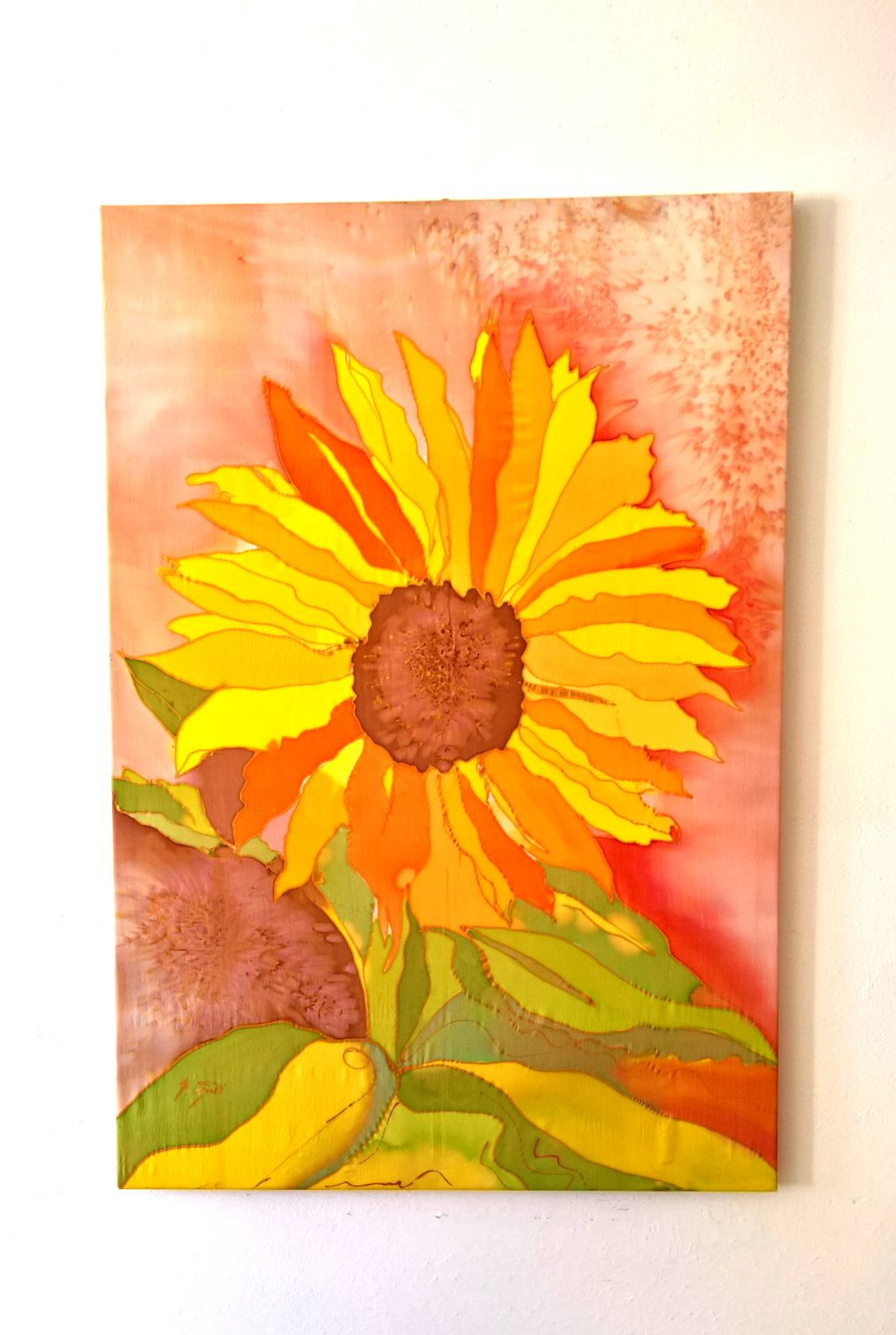 Wall art in silk hand painted by red and brown colors with yellow ...