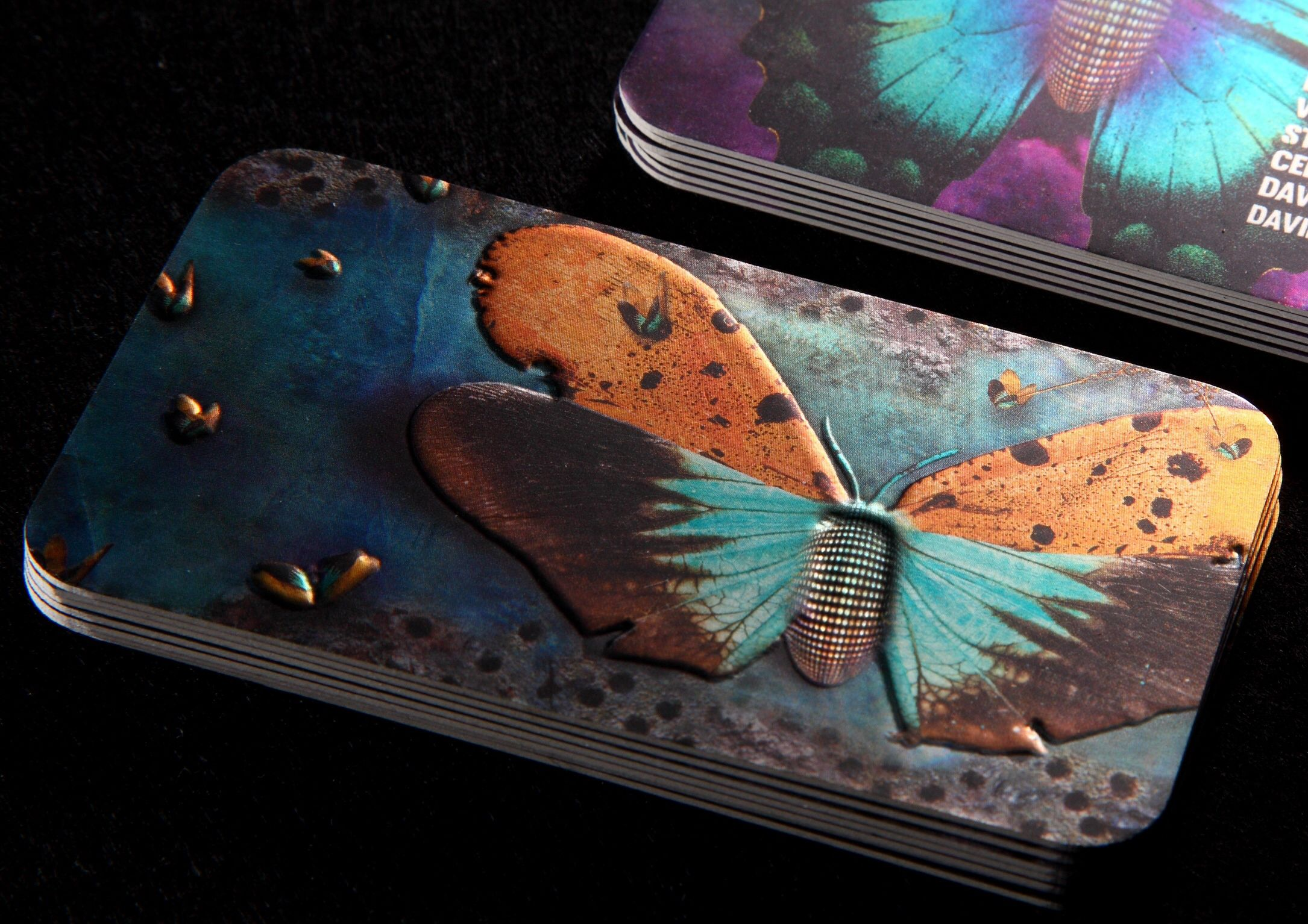custom sized 28pt cold foil silkcards w embossing butterfly