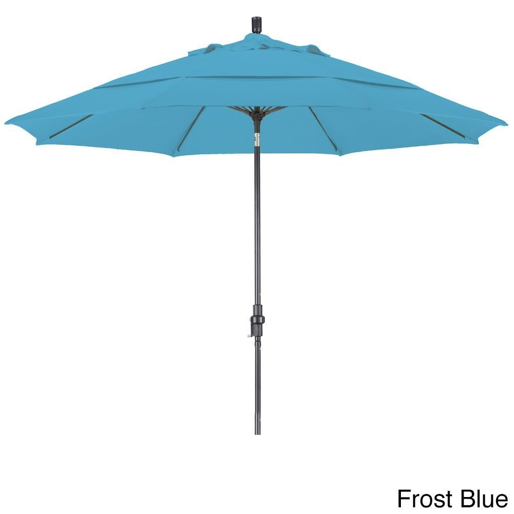 California Umbrella 11' Rd. Alum/Fiberglass Rib Market Umb, Crank Lift/Collar Tilt, Dbl Wind Vent, Bronze Finish, Olefin Fabric