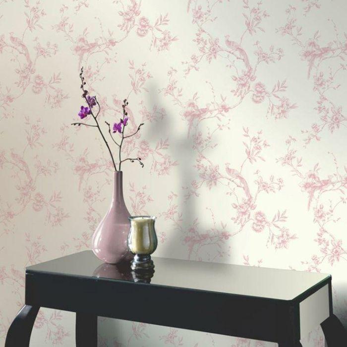 tapetenmuster wangestaltung wohnzimmer rosa zart Wandgestaltung - wandtattoo wohnzimmer retro