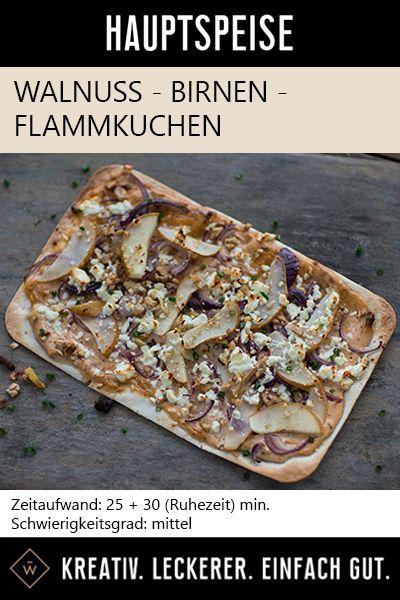 Es gibt viele Arten Flammkuchen, doch dieser ist mit der Kombination aus Walnuss, Birne und Rosmarin, ein einzigartiges Geschmackserlebnis! #flammkuchen #walnuss #birnen #rezept #flammkuchenrezept