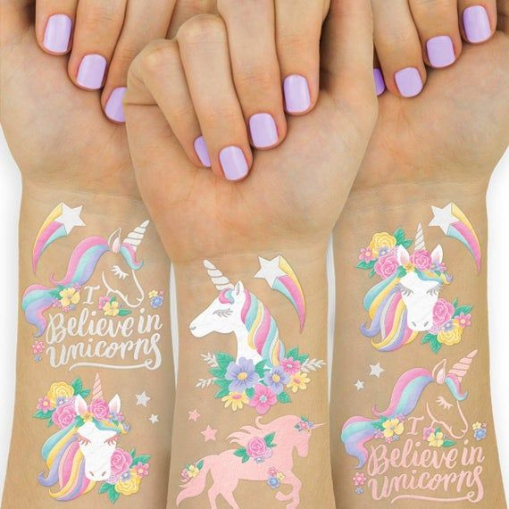 Unicorn Party Favors - Temporary Tattoos for Kids - 26 styles for Birthday Parties, Unicorn Favors