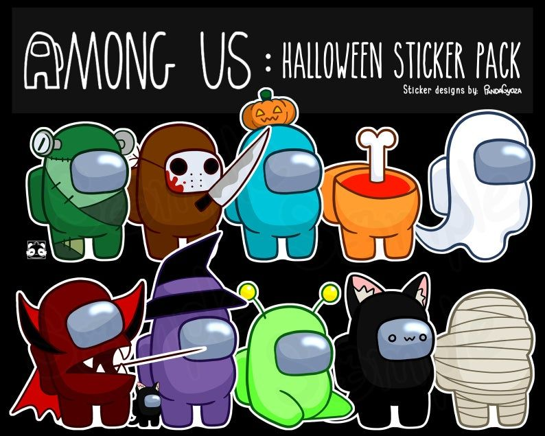 Among Us Halloween Themed Vinyl Stickers Pack Or Custom Set Etsy Halloween Stickers Stickers Halloween Themes