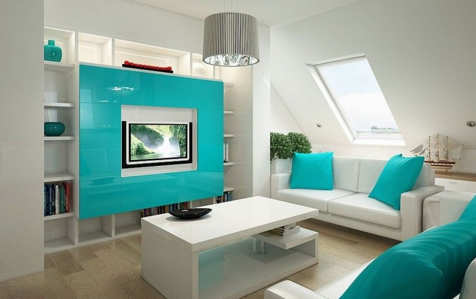 interesting modern white and teal living room color scheme design with minimalist wall unit
